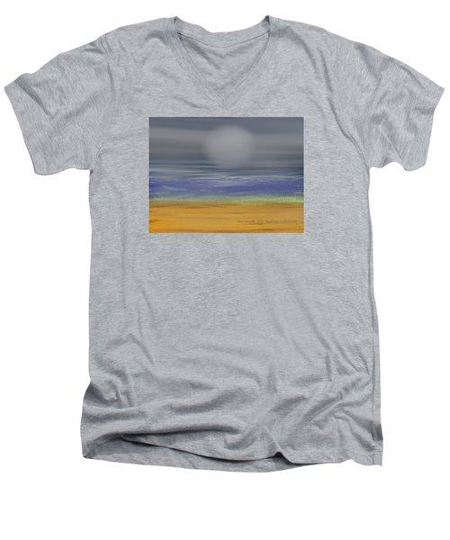Men's V-Neck T-Shirt featuring the digital art Night Fog On The Beach by Dr Loifer Vladimir