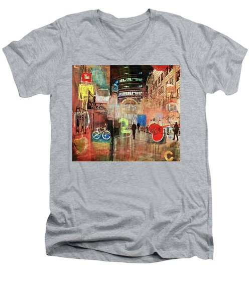 Men's V-Neck T-Shirt featuring the photograph Night In The City by Susan Stone