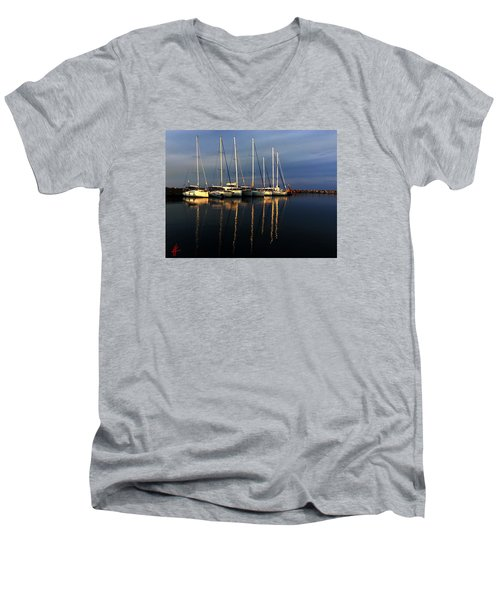 Night On Paros Island Greece Men's V-Neck T-Shirt