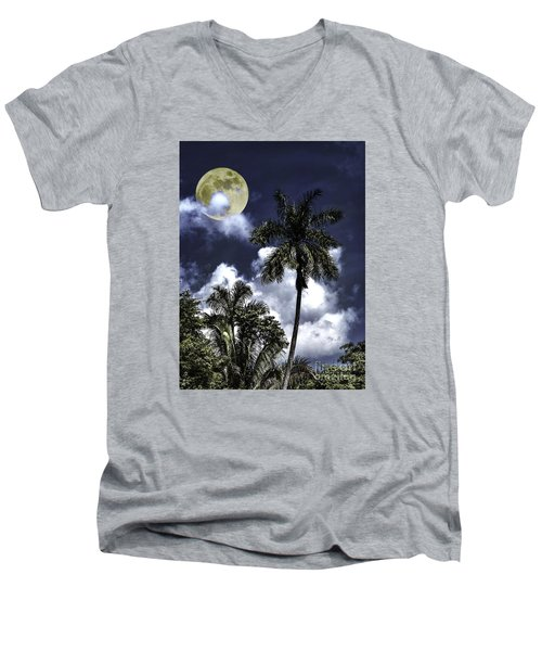 Night Palms Men's V-Neck T-Shirt by Ken Frischkorn