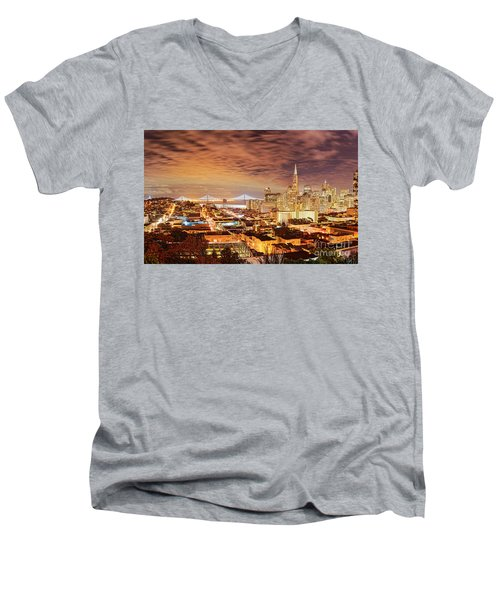 Night Panorama Of San Francisco And Oak Area Bridge From Ina Coolbrith Park - California Men's V-Neck T-Shirt