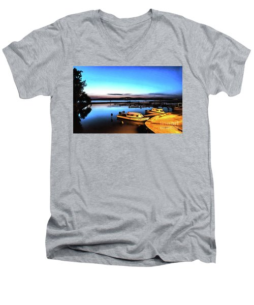 Night Port Painting Men's V-Neck T-Shirt