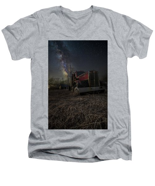Men's V-Neck T-Shirt featuring the photograph Night Rig by Aaron J Groen