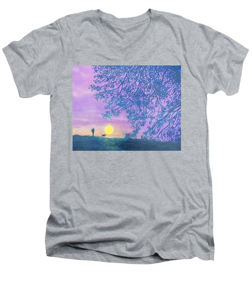 Men's V-Neck T-Shirt featuring the painting Night Runner by Susan DeLain