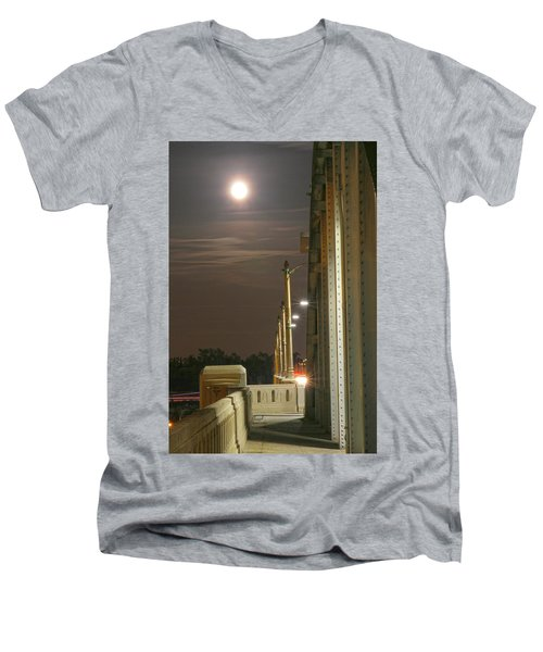Night Shot Of The Los Angeles 6th Street Bridge And Supermoon #3 Men's V-Neck T-Shirt