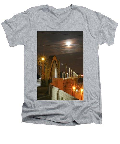 Night Shot Of The Los Angeles 6th Street Bridge And Supermoon #4 Men's V-Neck T-Shirt