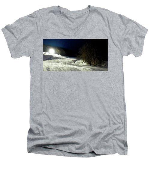 Men's V-Neck T-Shirt featuring the photograph Night Skiing At Mccauley Mountain by David Patterson