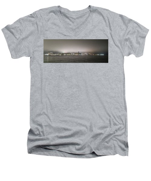 Night View Ocean City Downtown Skyline Men's V-Neck T-Shirt