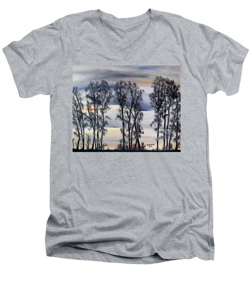 Men's V-Neck T-Shirt featuring the painting Nightfall Approaching by Marilyn  McNish