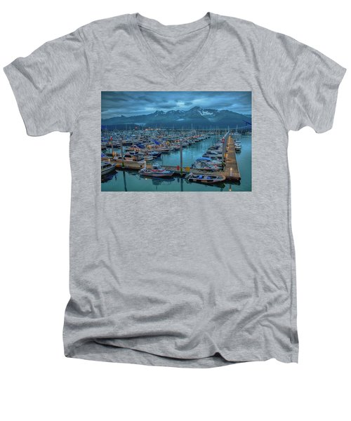 Nightfall On The Harbor Men's V-Neck T-Shirt