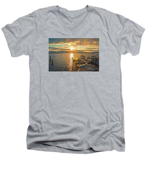 Nighttime Dockage Men's V-Neck T-Shirt by Rena Trepanier