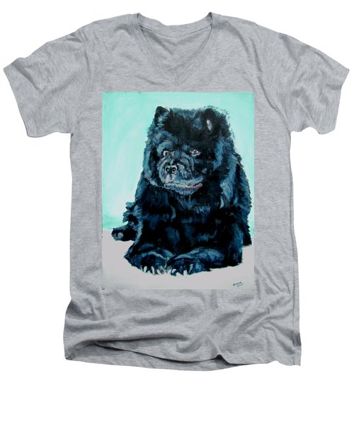 Men's V-Neck T-Shirt featuring the painting Nikki The Chow by Bryan Bustard