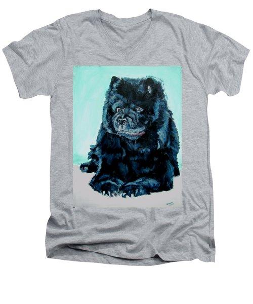 Nikki The Chow Men's V-Neck T-Shirt by Bryan Bustard