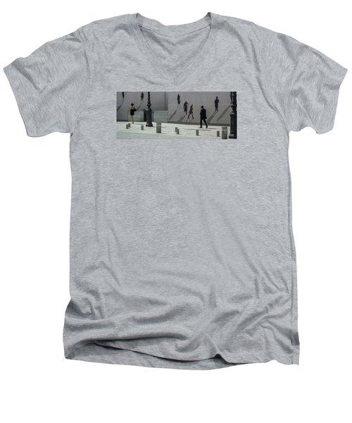 Nine Pedestrians At Place Vendome Men's V-Neck T-Shirt