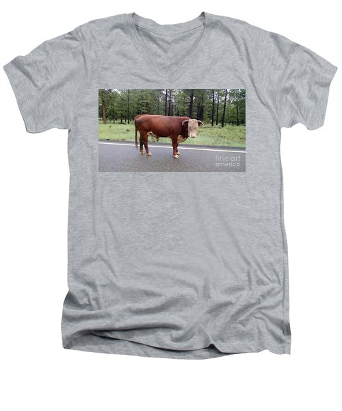 Men's V-Neck T-Shirt featuring the photograph No Bull by Roberta Byram