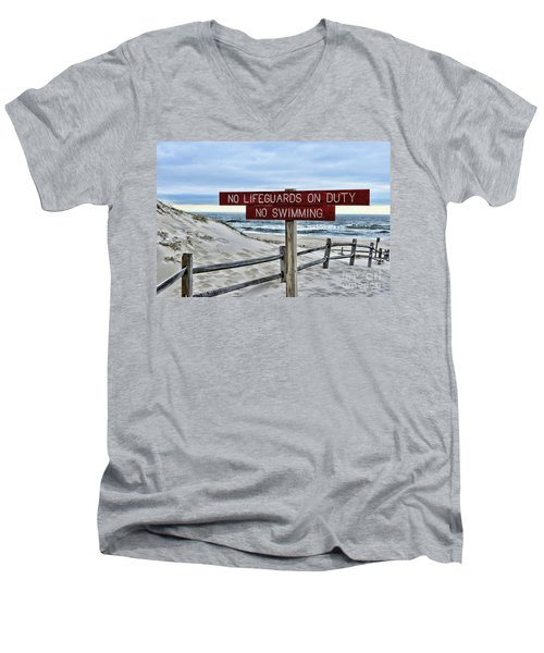 Men's V-Neck T-Shirt featuring the photograph No Lifeguards On Duty by Paul Ward