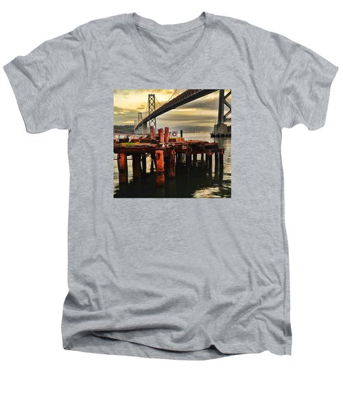 Men's V-Neck T-Shirt featuring the photograph No Name Dock by Steve Siri