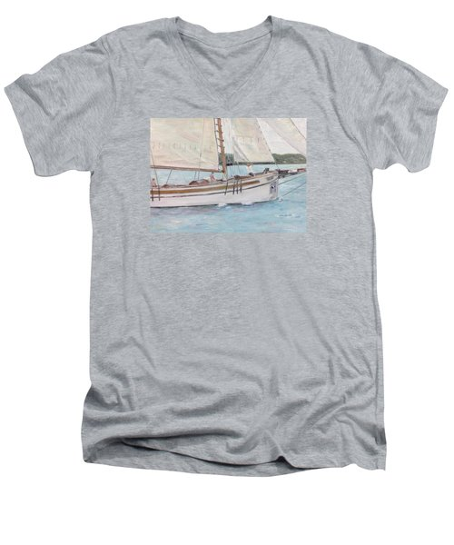 Men's V-Neck T-Shirt featuring the painting Bugeye by Stan Tenney