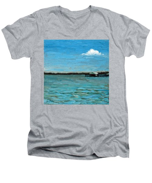 Men's V-Neck T-Shirt featuring the painting No Rain Today by Suzanne McKee