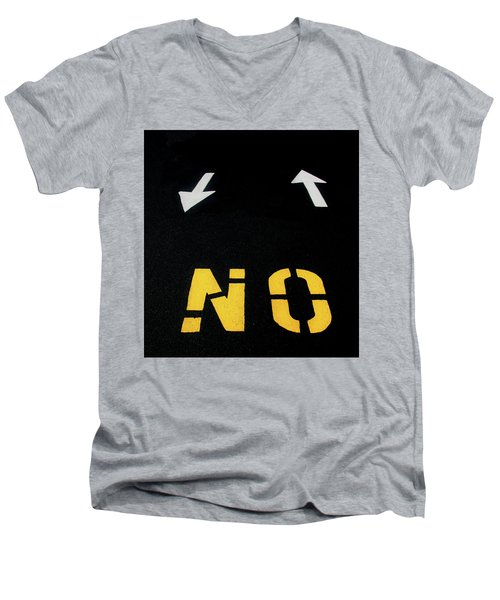 Men's V-Neck T-Shirt featuring the photograph No Sense Of Direction Traffic Lines by Gary Slawsky