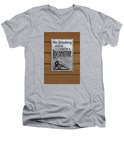 Men's V-Neck T-Shirt featuring the photograph No Smoking Unless Youre A Locomotive by Suzanne Gaff