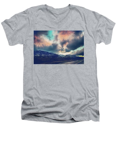 Men's V-Neck T-Shirt featuring the photograph No Stopping Us Now by Laurie Search