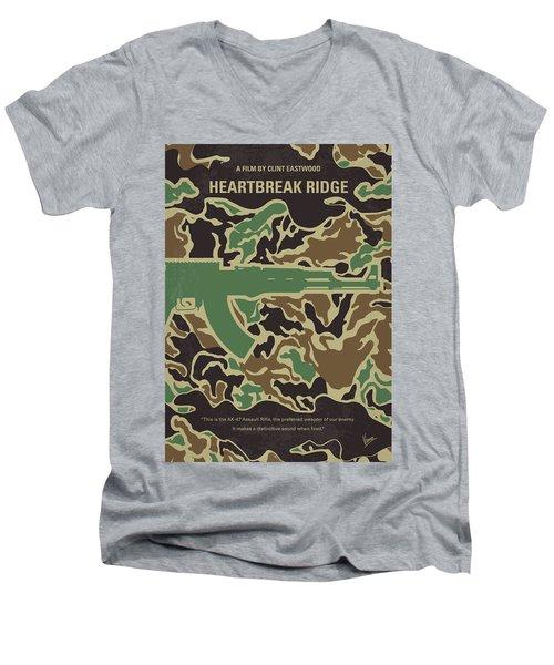 Men's V-Neck T-Shirt featuring the digital art No747 My Heartbreak Ridge Minimal Movie Poster by Chungkong Art