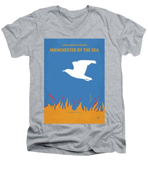 Men's V-Neck T-Shirt featuring the digital art No753 My Manchester By The Sea Minimal Movie Poster by Chungkong Art