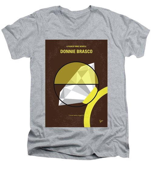 Men's V-Neck T-Shirt featuring the digital art No766 My Donnie Brasco Minimal Movie Poster by Chungkong Art