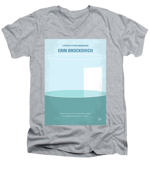 Men's V-Neck T-Shirt featuring the digital art No769 My Erin Brockovich Minimal Movie Poster by Chungkong Art