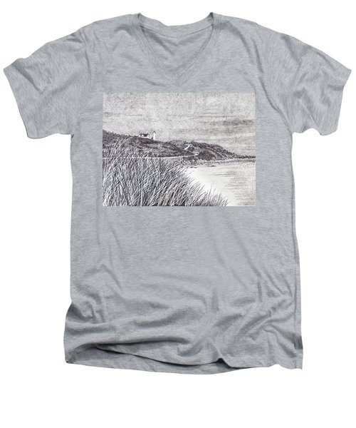 Nobska Lighthouse Men's V-Neck T-Shirt