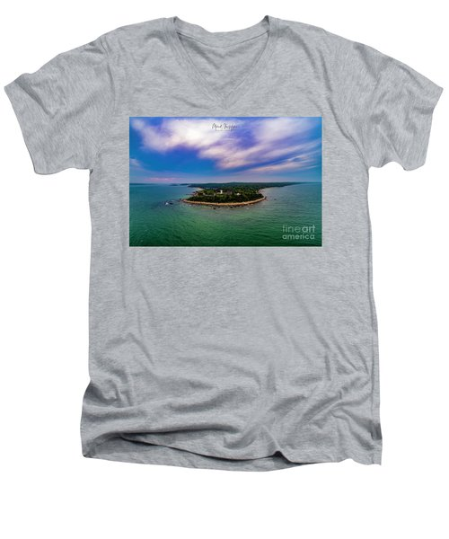 Nobska Lighthouse Panorama Men's V-Neck T-Shirt