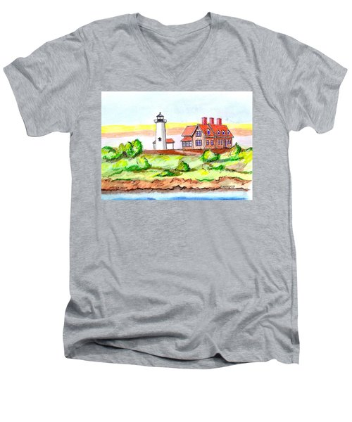 Nobska Point Lighthouse Men's V-Neck T-Shirt by Paul Meinerth