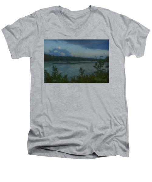 Nocturne At Ames Long Pond Men's V-Neck T-Shirt