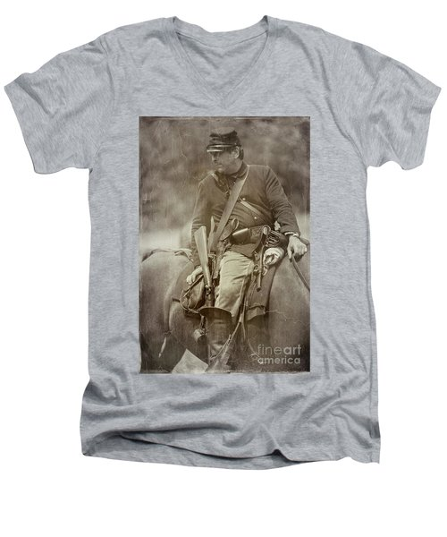 Nom-de-guerre Men's V-Neck T-Shirt by Randall Cogle