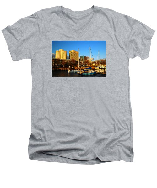 Norfolk From Waterside Men's V-Neck T-Shirt by James Kirkikis