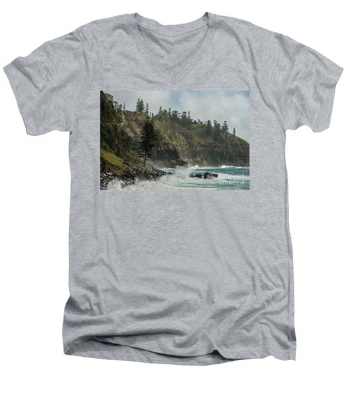 Men's V-Neck T-Shirt featuring the photograph Norfolk Island Coastline 01 by Werner Padarin