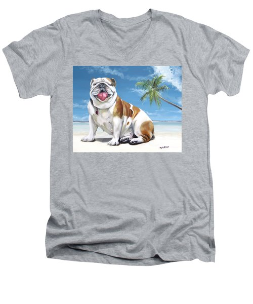 Norma Jean The Key West Puppy Men's V-Neck T-Shirt by Phyllis Beiser