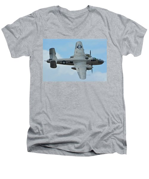 Men's V-Neck T-Shirt featuring the photograph North American B-25j Mitchell N9856c Pacific Princess Chino California April 30 2016 by Brian Lockett