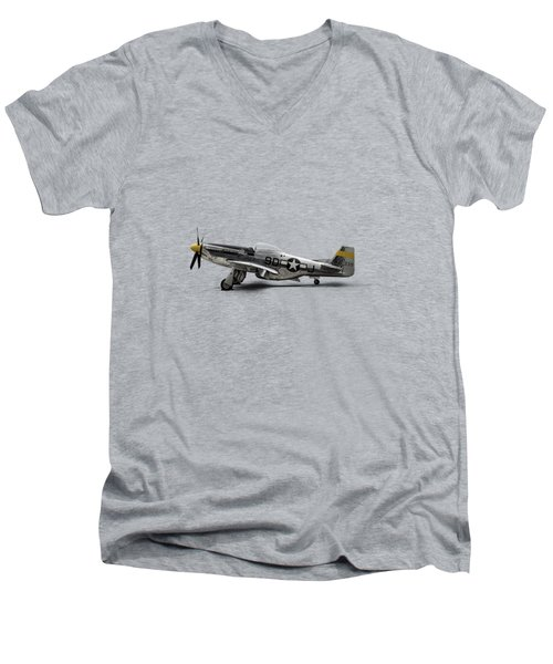Men's V-Neck T-Shirt featuring the digital art North American P-51 Mustang by Douglas Pittman