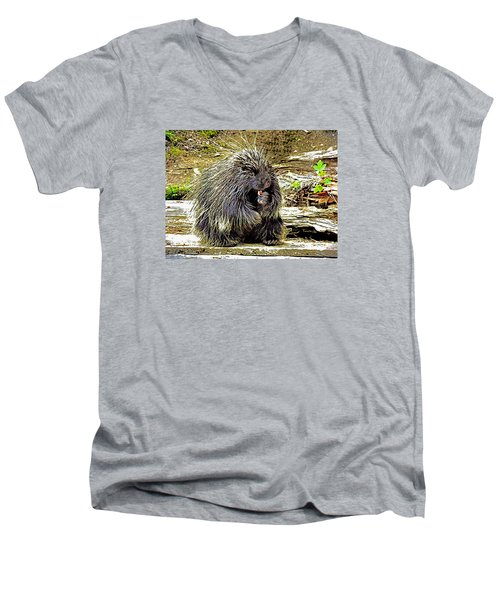Men's V-Neck T-Shirt featuring the photograph North American Porcupine by Kathy Kelly