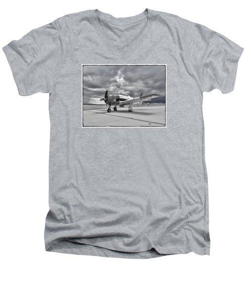 North American T-28 Men's V-Neck T-Shirt by Douglas Castleman