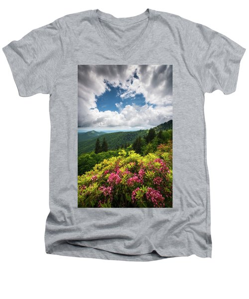 North Carolina Appalachian Mountains Spring Flowers Scenic Landscape Men's V-Neck T-Shirt