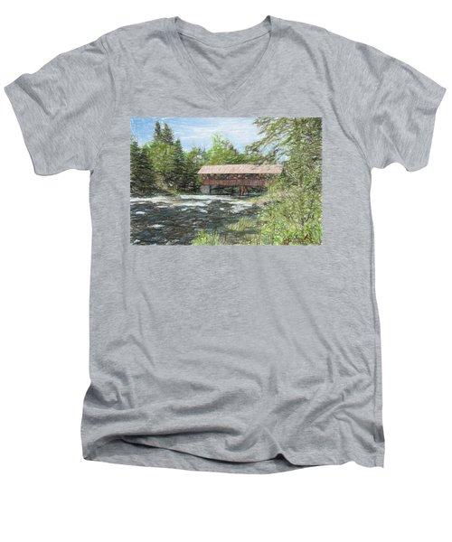 North Country Bridge Men's V-Neck T-Shirt by John Selmer Sr