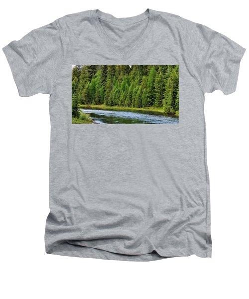 North Fork Of The Flathead Men's V-Neck T-Shirt