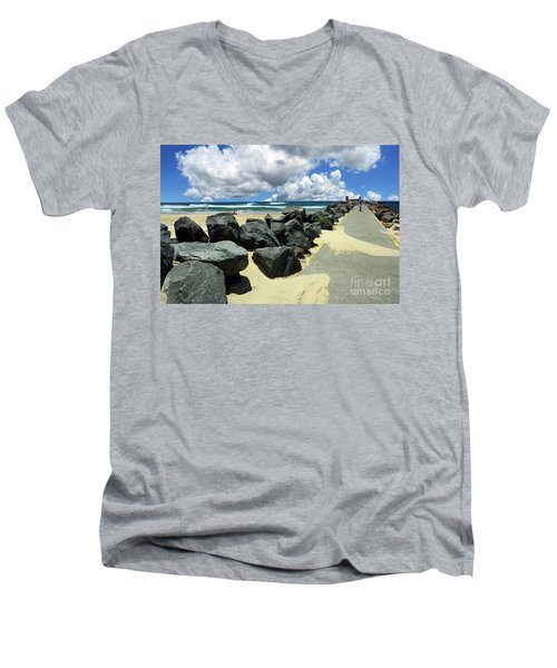 North Haven Breakwater Walkway By Kaye Menner Men's V-Neck T-Shirt