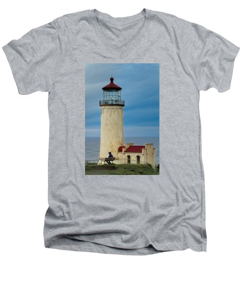 North Head Lighthouse Men's V-Neck T-Shirt by E Faithe Lester