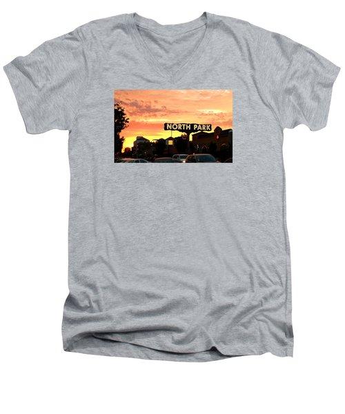 San Diego North Park Sun Men's V-Neck T-Shirt by Christopher Woods
