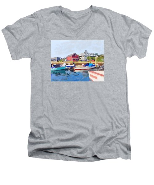 North Shore Art Association At Pirates Lane On Reed's Wharf From Beacon Marine Basin Men's V-Neck T-Shirt by Melissa Abbott