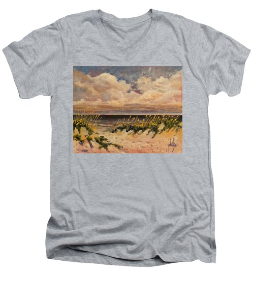 North Topsail Beach Men's V-Neck T-Shirt by Jim Phillips